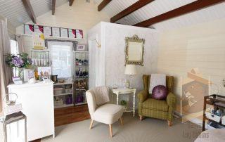 log cabin salon interior