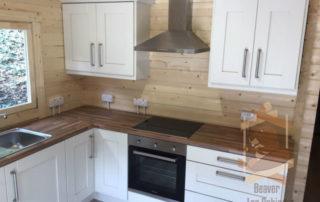 kitchen in log cabin