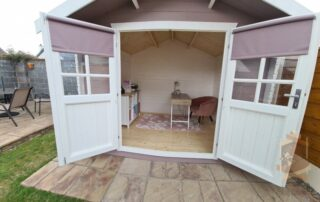 Garden home office doors open