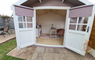 Garden home office doors open