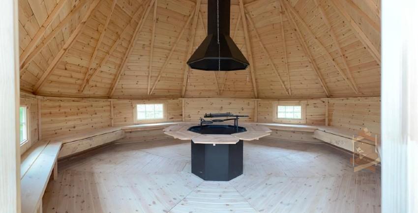 log interior BBQ cabin